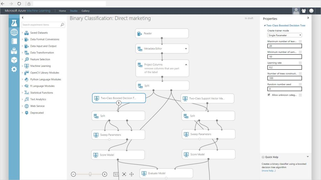 Microsoft Azure machine learning UI